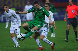 Andraz Kirm (17), Christopher Baird and Andraz Kirm (17) at the fourth round qualification game of 2010 FIFA WORLD CUP SOUTH AFRICA in Group 3 between Slovenia and Northern Ireland at Stadion Ljudski vrt, on October 11, 2008, in Maribor, Slovenia.  (Photo by Vid Ponikvar / Sportal Images)
