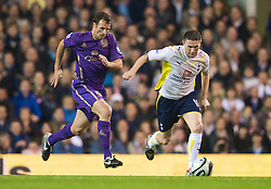 LONDON, ENGLAND - Tuesday, October 27, 2009: Everton's Lucas Neill and Tottenham Hotspur's Robbie Keane during the League Cup 4th Round match at White Hart Lane. (Photo by David Rawcliffe/Propaganda)