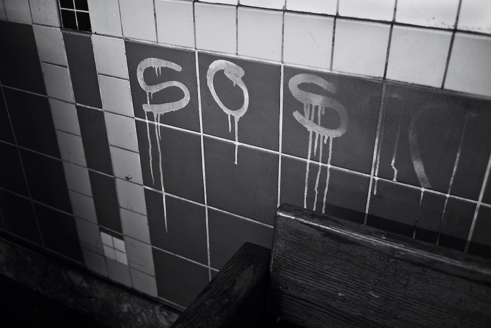 Graffiti on subway wall (S.O.S.), New York, NY, US