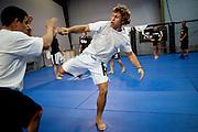 Urijah Faber trains at his gym in Sacramento, Calif., May 4, 2011.