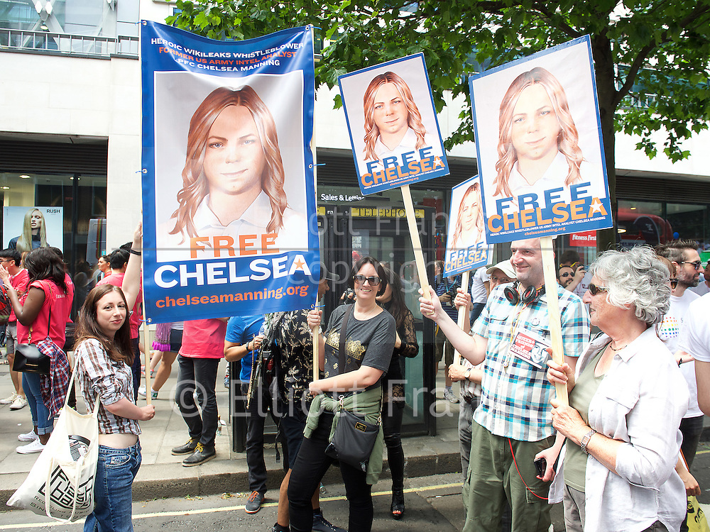 Pride in London 2015 <br /> Gay Pride groups getting ready to march in Pride London Parade in Baker Street, London, Great Britain <br /> 27th June 2015 <br /> <br /> free Chelsea Manning protest group <br /> <br /> Photograph by Elliott Franks <br /> Image licensed to Elliott Franks Photography Services
