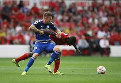 Anthony Pilkington of Cardiff City (L) and Michail Antonio of Nottingham Forest in action - Mandatory byline: Jack Phillips / JMP - 07966386802 - 29/8/2015 - FOOTBALL - The City Ground - Nottingham, Nottinghamshire - Nottingham Forest v Cardiff City - Sky Bet Championship