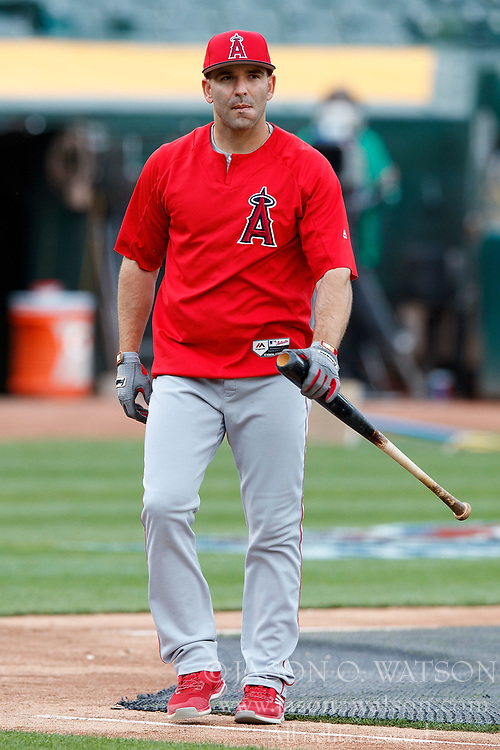 OAKLAND, CA - APRIL 04:  Danny Espinosa #3 of the Los Angeles Angels of Anaheim warms up before the game against the Oakland Athletics at the Oakland Coliseum on April 4, 2017 in Oakland, California. The Los Angeles Angels of Anaheim defeated the Oakland Athletics 7-6. (Photo by Jason O. Watson/Getty Images) *** Local Caption *** Danny Espinosa