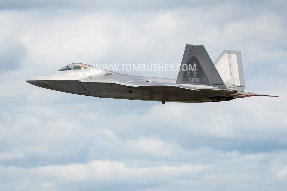 New Windsor, New York - A U.S. Air Force F-22 Raptor flies during a practice session for the New York Air Show at Stewart International Airport on Aug. 28, 2015. ©Tom Bushey / The Image Works
