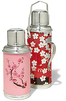 silver thermoses with japanese flower patterns