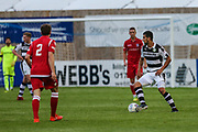 Forest Green Rovers Omar Bugiel(11) on the ball  during the Pre-Season Friendly match between Swindon Supermarine and Forest Green Rovers at the Webb's Wood Stadium, South Marston, United Kingdom on 31 July 2017. Photo by Shane Healey.