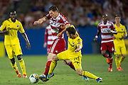 FRISCO, TX - SEPTEMBER 29:  Kenny Cooper #33 of FC Dallas fights for control of the ball with Chad Barson #21 of the Columbus Crew on September 29, 2013 at Toyota Stadium in Frisco, Texas.  (Photo by Cooper Neill/Getty Images) *** Local Caption *** Kenny Cooper; Chad Barson