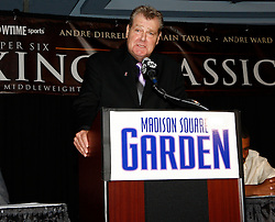 July 13, 2009; New York, NY, USA; Dan Goossen, promoter of Andre Ward, speaks at the press conference announcing the Super Six World Boxing Classic Tournament at Madison Square Garden in New York City.
