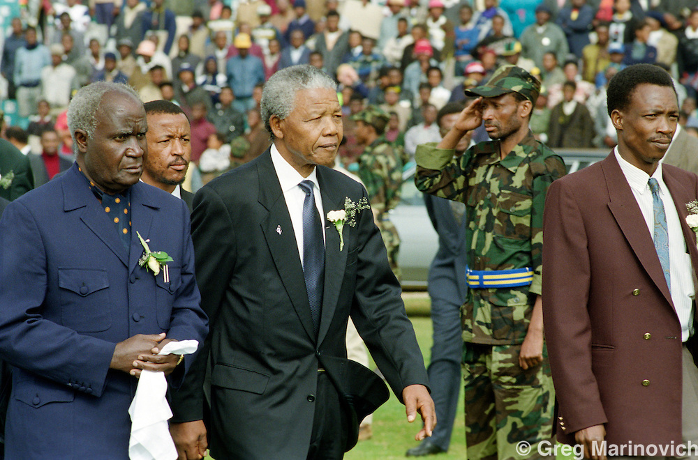Nelson Mandela attends the lieing in state of ANC president OR Tambo at FNB stadium, Soweto, South Africa.
