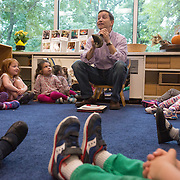 WASHINGTON, DC - SEP30:  Rabbi Jonathan Roos, Rabbi at Temple Sinai synagogue in Washington, DC,  blows the Shofar September 30, 2016, for nursery school children at Temple Sinai, in honor of Rosh Hashana, the Jewish New Year which begins Sunday night. (Photo by Evelyn Hockstein/For The Washington Post)