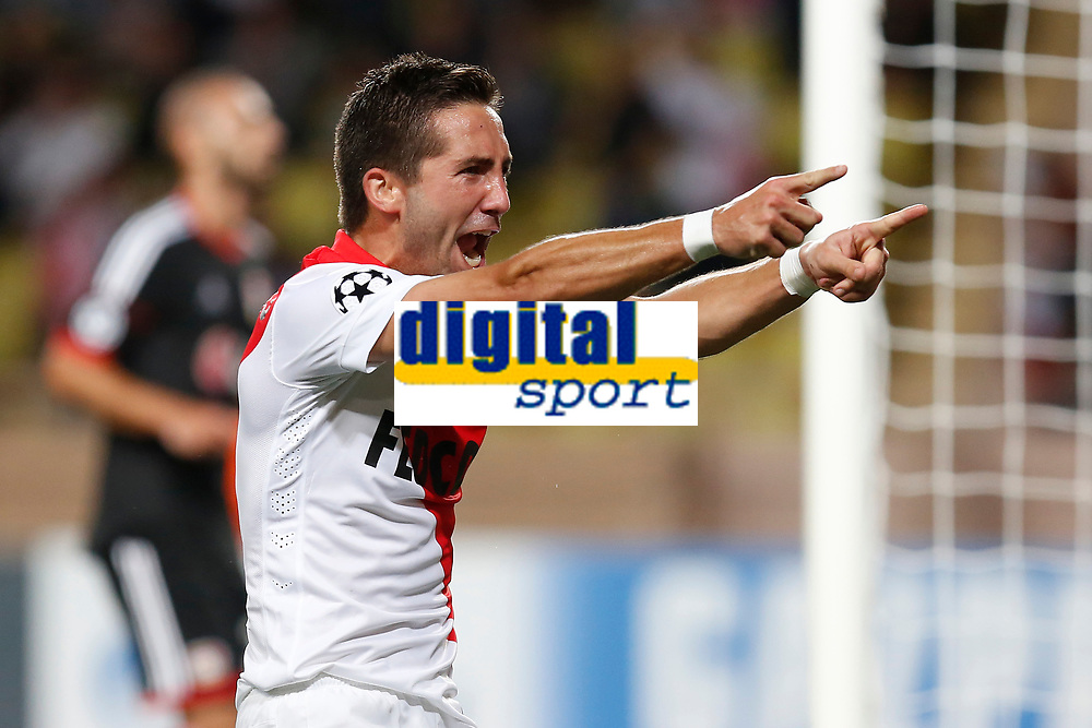 Monaco's Joao Moutinho celebrates after scoring a goal during the UEFA Champions League 2014/2015 football match, Group C, between AS Monaco and Bayer Leverkusen on September 16, 2014 at Louis II stadium in Monaco. Photo Philippe Laurenson / DPPI
