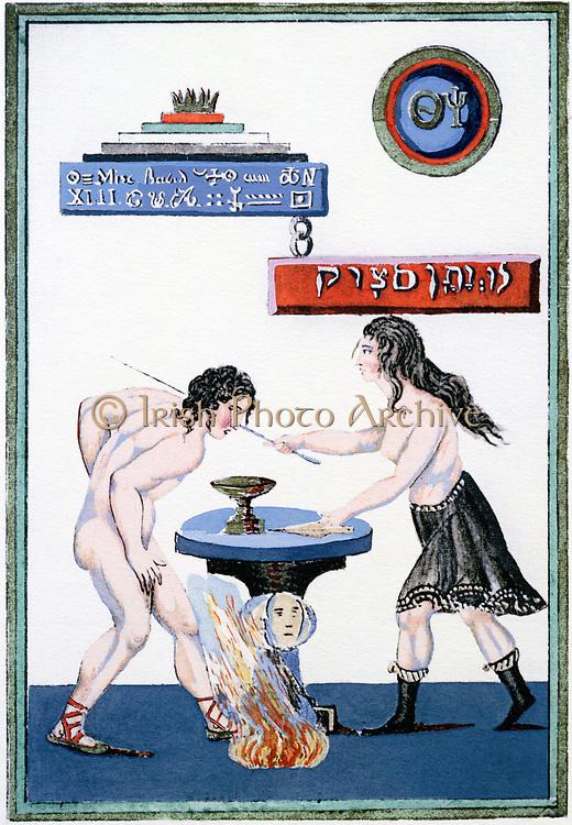The Magic Mirror revealing its secrets; from 18th century cabalistic/alchemical manuscript 'La Tres Sainte Trinosophie.'