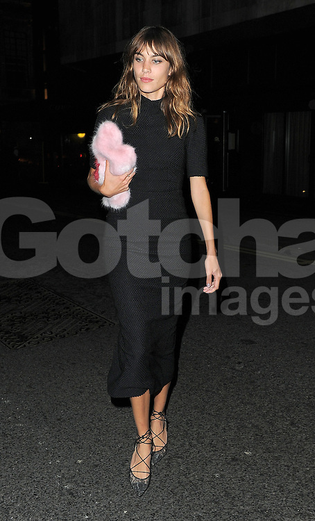 Alexa Chung leaving the LFW AnOther Magazine party at Loulou's private members club in Mayfair, London, UK. 15/09/2014<br />
