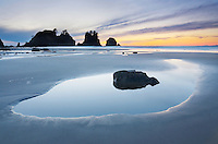 Sunset at Point of the Arches and Shi Shi Beach at low tide, Olympic National Park Washington