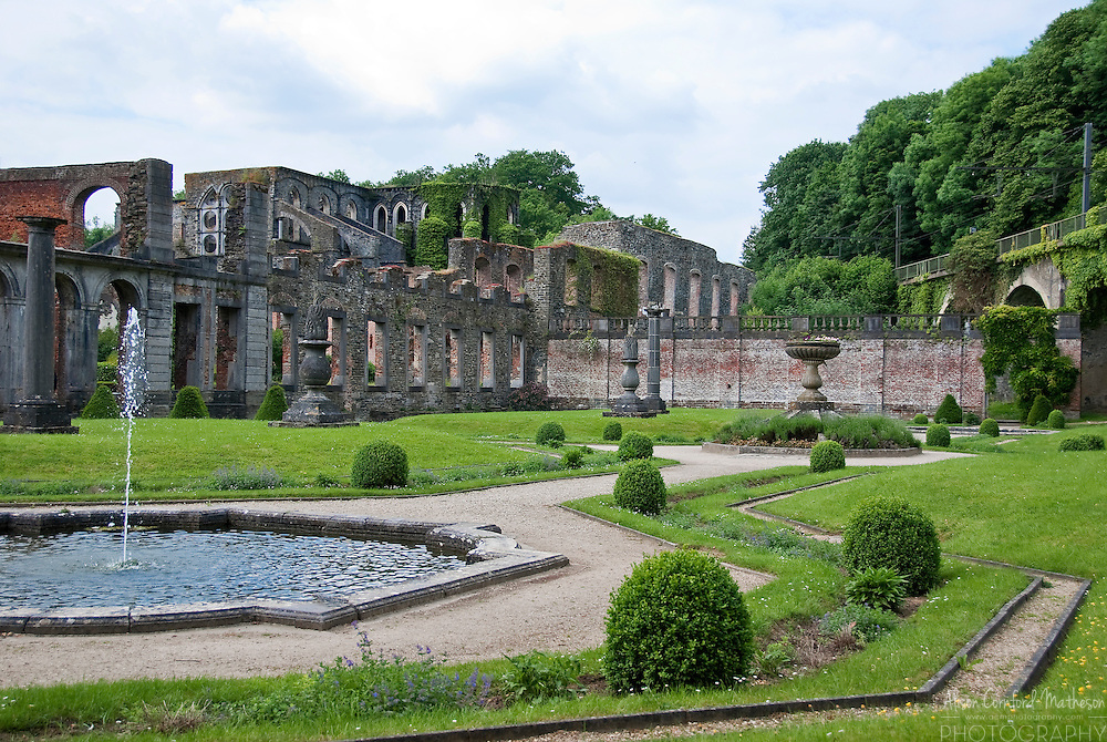 Formal gardens of the Abbey of Villers-la-Ville in Wallonia, Belgium