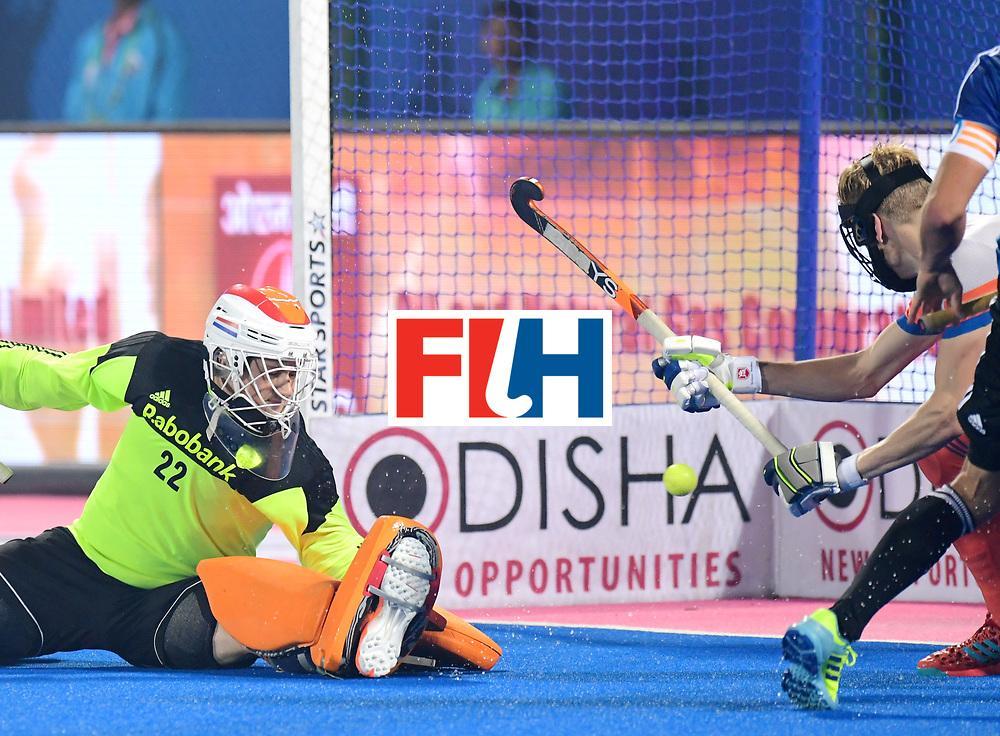 Odisha Men's Hockey World League Final Bhubaneswar 2017<br /> Match id:08<br /> Netherlands v Argentina<br /> Foto: keeper Sam van der Ven (Ned) <br /> WORLDSPORTPICS COPYRIGHT FRANK UIJLENBROEK