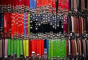 Leather belts on display, Fethiye market, Turkey