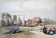 Fragment of the Great Colossi, at the Memnon, Thebes'.; lithograph after watercolour by David Roberts (1796-1864) Scottish artist.