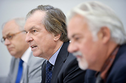 Fredrich Stickler, president of the European Lotteries and deputy chief executive officer of the Austrian Lotteries, center, speaks during a news conference at the International Press Center in Brussels, Belgium, Thursday, Sept. 8, 2009. The European Lotteries, an umbrella organization of the EU national lotteries, celebrated a victory in the European Union's highest court, which ruled that EU member states can prohibit commercial online gambling operations from offering games of chance via the internet to their citizens, even when these operators are based and licensed in another EU member state. Seated at left is Tjeerd Veenstra, director of De Lotto, the Netherlands' national lottery, and the legal spokesperson for the European Lottery, seated at right is, Dirk Messens, head of legal affairs for the Belgian National Lottery. (Photo © Jock Fistick)