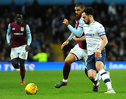 Greg Cunningham of Preston North End competes with Lewis Grabban of Aston Villa- Mandatory by-line: Nizaam Jones/JMP - 20/02/2018 - FOOTBALL - Villa Park - Birmingham, England - Aston Villa v Preston North End- Sky Bet Championship
