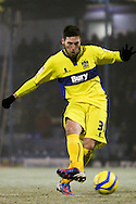 Picture by David Horn/Focus Images Ltd +44 7545 970036.11/12/2012.Matt Doherty of Bury taking a penalty during the The FA Cup match at Roots Hall, Southend.