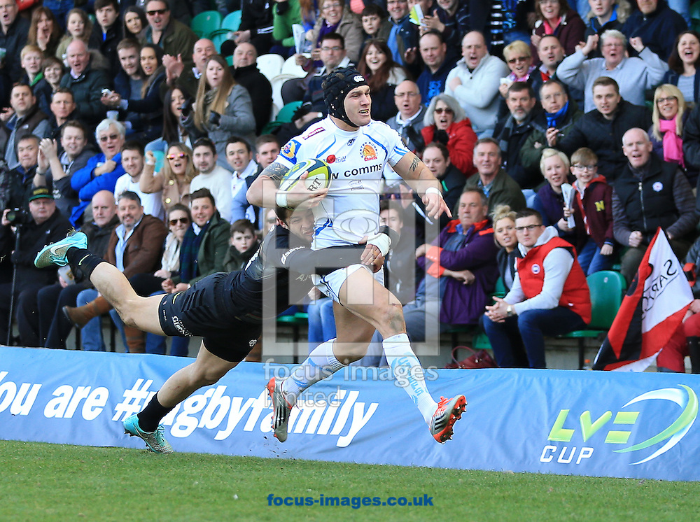 Try saving tackle from Catalin Fercu of Saracens during the LV Cup Final match at Franklin's Gardens, Northampton<br /> Picture by Michael Whitefoot/Focus Images Ltd 07969 898192<br /> 22/03/2015