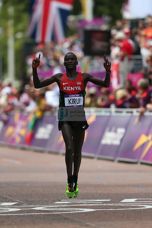 Abel Kirui of Kenya finishes second to win a silver medal at the men's marathon during day 16 of the London Olympic Games in London, England, United Kingdom on August 12, 2012..(Jed Jacobsohn/for The New York Times)..