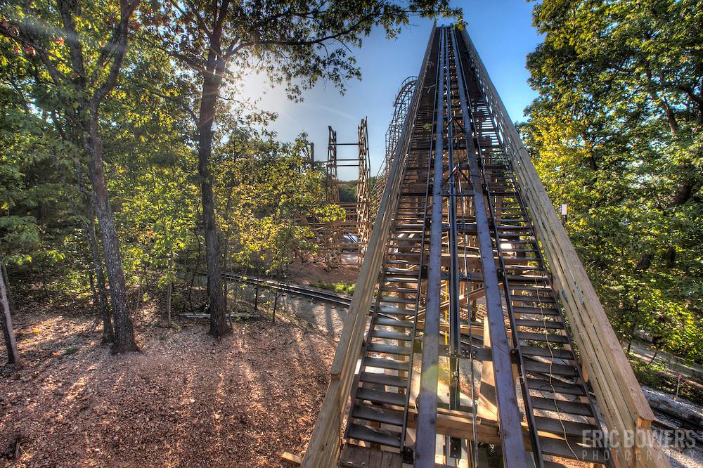 Outlaw Run roller coaster under construction at Silver Dollar City, Branson, Missouri.