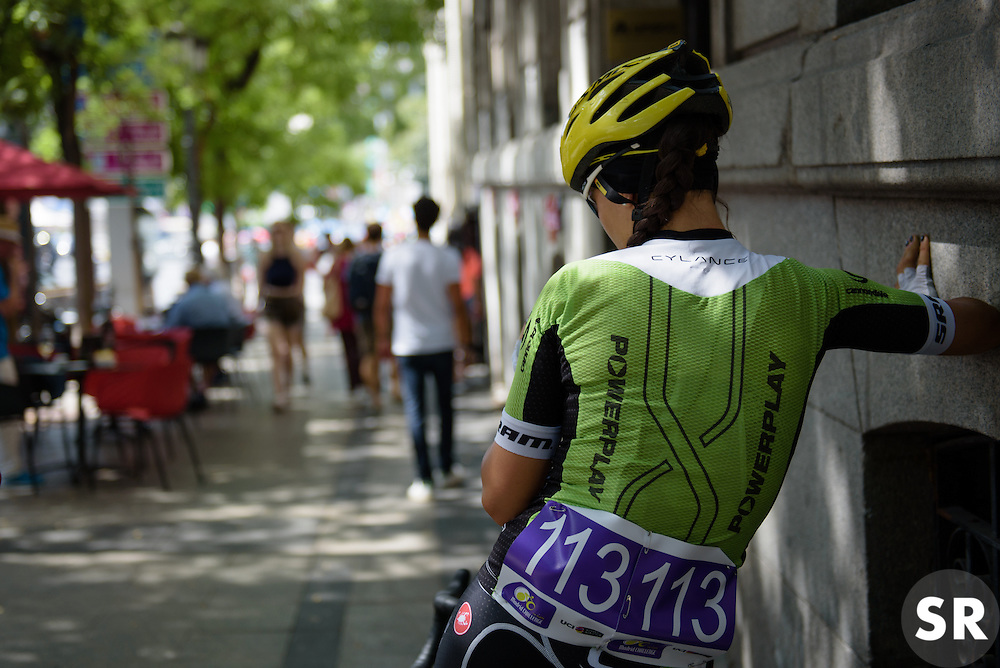 Rachele Barbieri (Cylance Pro Cycling) relaxes in the shade before Madrid Challenge by La Vuelta an 87km road race in Madrid, Spain on 11th September 2016.