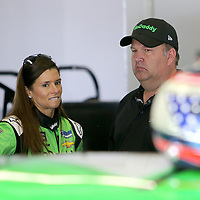 Danica Patrick, driver of the #7 GoDaddy Chevrolet speaks with crew chief Tony Eury Jr. during practice for the 60th Annual NASCAR Daytona 500 auto race at Daytona International Speedway on Friday, February 16, 2018 in Daytona Beach, Florida.  (Alex Menendez via AP)