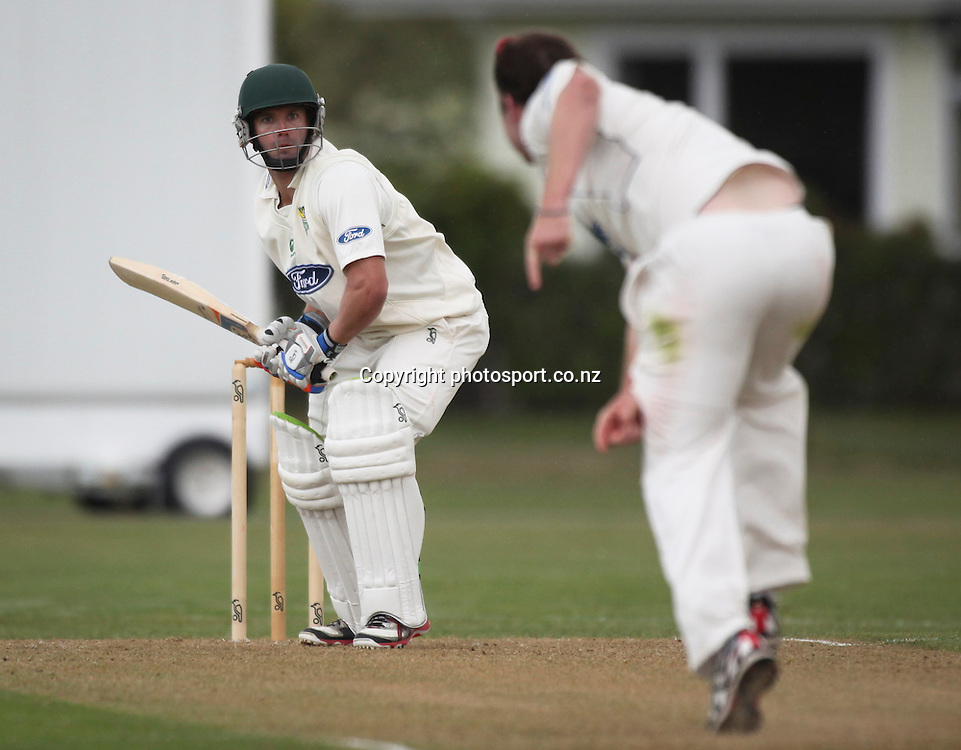 Stag's Carl Cachopa batting in his century making innings in the Plunket Shield cricket match between the Central Districts Stags and the Auckland Aces at Nelson Park, Napier,  New Zealand. November, 2012. Photo: John Cowpland / photosport.co.nz