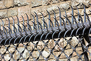 Security railing at Caja Espana savings bank in Casa Botines in Leon, Castilla y Leon, Spain