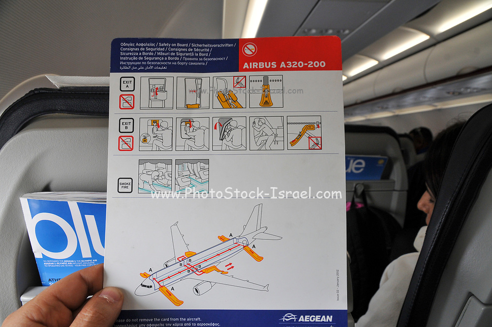 interior of the cabin of an Aegean Airlines Airbus A320-200 at Ben Gorion international airport, Israel