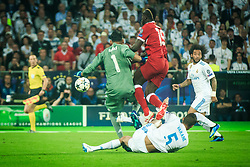 Keylor Navas of Real Madrid and Raphaël Varane of Real Madrid vs Sadio Mané of Liverpool during the UEFA Champions League final football match between Liverpool and Real Madrid at the Olympic Stadium in Kiev, Ukraine on May 26, 2018.Photo by Sandi Fiser / Sportida