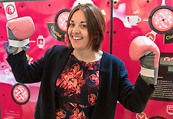 Scottish Labour leader Kezia Dugdale speaking at the mental health conference Wellbeing @ Work Event at Assembly Rooms in Edinburgh<br /> <br /> Kezia pictured with the Cardio Wall machine that was on display at the conference