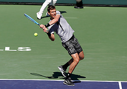 March 8, 2019 - Indian Wells, CA, U.S. - INDIAN WELLS, CA - MARCH 08: Tomas Berdych (CZE) hits a backhand during the first round of the BNP Paribas Open on March 08, 2019, at the Indian Wells Tennis Gardens in Indian Wells, CA. (Photo by Adam Davis/Icon Sportswire) (Credit Image: © Adam Davis/Icon SMI via ZUMA Press)