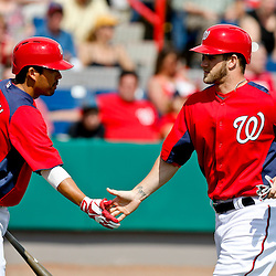 Mar 9, 2013; Melbourne, FL, USA; Washington Nationals center fielder Bryce Harper (34) celebrates with Kurt Suzuki (24) after scoring on a single by Danny Espinosa (not pictured) during the bottom of the third inning of a spring training game against the Miami Marlins at Space Coast Stadium. Mandatory Credit: Derick E. Hingle-USA TODAY Sports