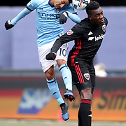 NEW YORK, NEW YORK - March 12:  Maximiliano Moralez #10 of New York City FC and Lloyd Sam #8 of D.C. United head the ball at the same time during the NYCFC Vs D.C. United regular season MLS game at Yankee Stadium on March 12, 2017 in New York City. (Photo by Tim Clayton/Corbis via Getty Images)