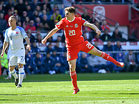 Football - 2018 / 2019 Euro Championship 2020 qualifying round. Wales v SLOVAKIA <br /> <br /> Daniel James of Wales celebrates scoring his team's first goal<br /> at Cardiff City Stadium<br /> <br /> COLORSPORT/WINSTON BYNORTH