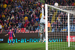 BUCHAREST, ROMANIA - Thursday, December 2, 2010: Liverpool's captain goalkeeper Jose Reina tips the ball over the ball during the UEFA Europa League Group K match against FC Steaua Bucuresti at the Stadionul Steaua. (Pic by: David Rawcliffe/Propaganda)