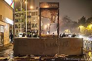 Destrozos de la vía pública después de una manifestación, generalmente ocasionados por encapuchados y provocadores. Parque Balmaceda, Santiago de Chile, Octubre 2012.