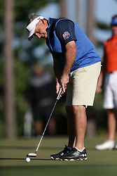 Jimmy Dunne warms up during the Chick-fil-A Peach Bowl Challenge at the Oconee Golf Course at Reynolds Plantation, Sunday, May 1, 2018, in Greensboro, Georgia. (Marvin Gentry via Abell Images for Chick-fil-A Peach Bowl Challenge)