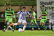 Cheltehham Town's Jack Munns plays a pass during the Gloucestershire Senior Cup match between Forest Green Rovers and Cheltenham Town at the New Lawn, Forest Green, United Kingdom on 20 September 2016. Photo by Shane Healey.