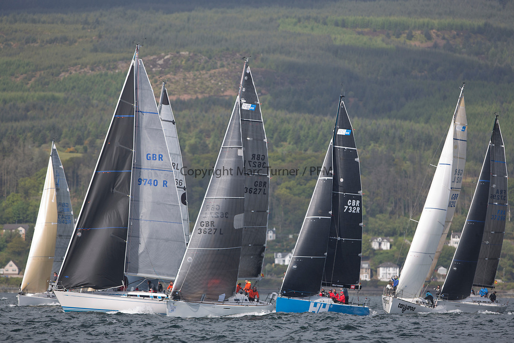 Pelle P Kip Regatta 2017 run by Royal Western Yacht Club at Kip Marina on the Clyde. <br /> <br /> RC35 Class Start<br /> <br /> Image Credit Marc Turner