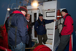 """Coveney on Irish Sea Trawler to view new discard reduction nets.. .Mr Simon Coveney T.D. Minister for Agriculture, Food and the Marine today went to sea on an Irish Sea Prawn Trawler to view at first hand a demonstration of innovative fishing nets ,which significantly reduce unwanted cod catches . Minister Coveney was on board  the MFV Syracuse owned by Mr Ivan Wilde of Skerries on a fishing trip in the prawn fishery in the Irish Sea. Mr Wilde has pioneered the use of this new type of fishing gear in Ireland...Picture the MFV Syracuse  Mr Simon Coveney T.D. Minister for Agriculture, Food and the Marine helping crew launch thenew discard reduction nets.. .Minister Coveney said """"I was very pleased to have the opportunity to meet and join Mr Wilde and his crew on a fishing trip in the Irish Sea.  On the trip I saw the positive impact of the use of a  pioneering grid that allows cod escape from prawn fishing nets.  It is critically important that cod friendly fishing methods are developed that minimise catches of cod and this grid is one good example of an effective option.  In this way, we can continue the very important prawn fishery while protecting and rebuilding the Irish sea cod stock."""". .The prawn fishery in the Irish Sea is economically very important for the Irish fleet. The cod stock in the Irish Sea has collapsed and in order to rebuild the cod stock catches of all cod and particularly juvenile cod  need to be reduced to a low level.. .   Minister Coveney added """"In the Irish Sea, the use of traditional nets in the prawn fishery has resulted in a by-catch of cod and juvenile cod which is being discards.  I am committed to the development of practical and effective measures that reduce discards to a very low level across our fisheries.   The Marine Institute and BIM are working with fishermen to develop eco friendly fishing nets that will be  practical for fishermen while addressing effectively  unacceptable discards of juvenile and other unwanted fish."""