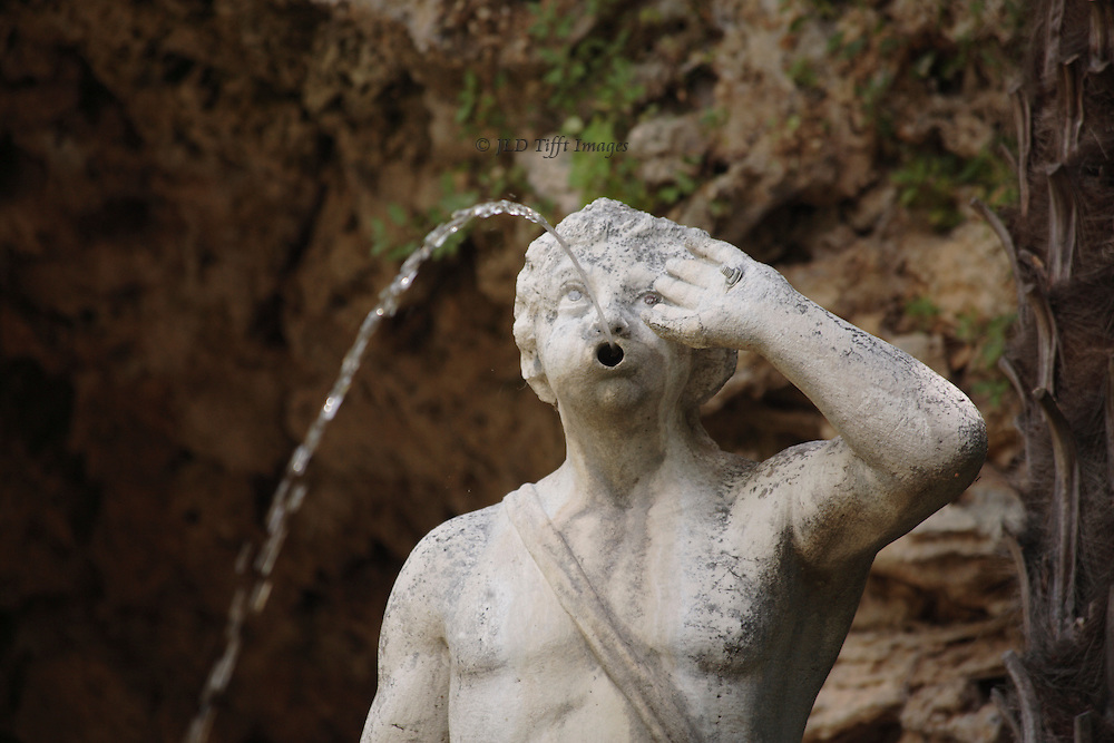 Trsteno: fountain of Neptune in the garden of the Gucetic family summer house.  Fountain and sculpture date from 1736.  Male figure pouring water from his mouth.
