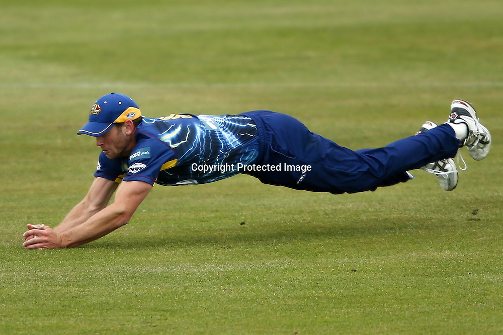 Otago's Ian Butler holds a catch during the HRV Cup Twenty20 Cricket match between Canterbury Wizards and Otago Volts at Aorangi Oval, Timaru on Thursday 27 December 2012. Photo: Martin Hunter/Photosport.co.nz