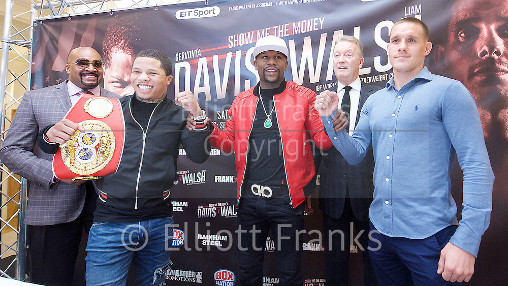 Floyd Mayweather Jr & Frank Warren press conference at The Savoy Hotel, London, Great Britain <br /> 7th March 2017 <br /> <br /> <br /> Leonard Ellerbe <br /> (CEO of Mayweather Promotions)<br /> <br /> Gervonta Davis <br /> (an American professional boxer who has held the IBF junior lightweight title since January 2017)<br /> <br /> <br /> Floyd Joy Mayweather Jr. is an American former professional boxer who competed from 1996 to 2015 and currently works as a boxing promoter. <br /> <br /> Frank Warren <br /> Boxing Promoter <br /> Liam Walsh <br /> (a British professional boxer and the current Commonwealth super featherweight champion)<br /> <br /> <br /> <br /> <br /> Photograph by Elliott Franks <br /> Image licensed to Elliott Franks Photography Services