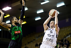 Devin Oliver of Petrol Olimpija vs Novica Velickovic of Partizan NIS during basketballl match between KK Petrol Olimpija Ljubljana and KK Partizan NIS mts in Round #20 of ABA League 2017/18, on February 10, 2018 in Tivoli sports hall, Ljubljana, Slovenia. Photo by Vid Ponikvar / Sportida