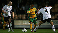Photo: Paul Thomas.<br /> Port Vale v Norwich City. Carling Cup. 24/10/2006.<br /> <br /> Robert Earnshaw of Norwich (C) tries to get through Vale couple Danny Whitaker (L) and Danny Sonner.
